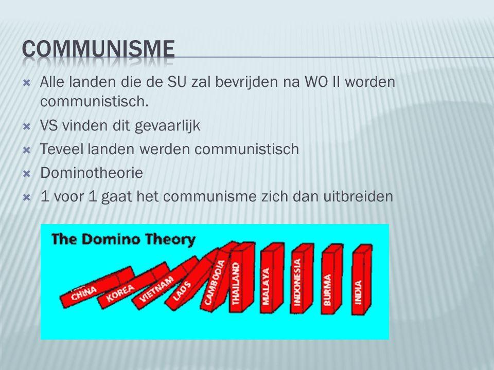  Alle landen die de SU zal bevrijden na WO II worden communistisch.  VS vinden dit gevaarlijk  Teveel landen werden communistisch  Dominotheorie 