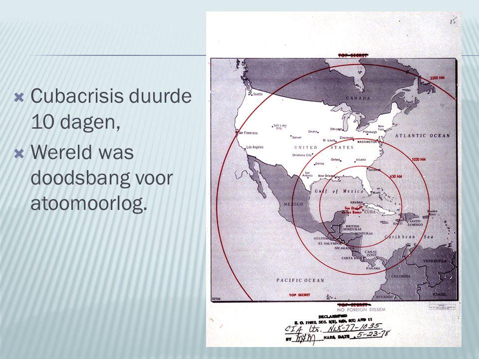  Cubacrisis duurde 10 dagen,  Wereld was doodsbang voor atoomoorlog.