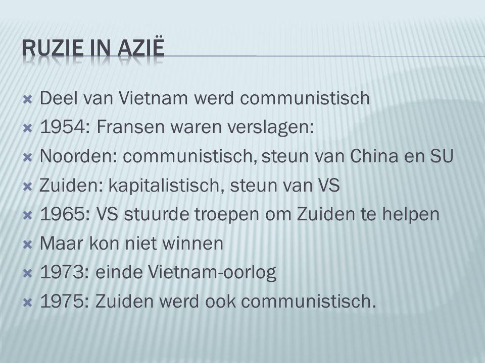  Deel van Vietnam werd communistisch  1954: Fransen waren verslagen:  Noorden: communistisch, steun van China en SU  Zuiden: kapitalistisch, steun