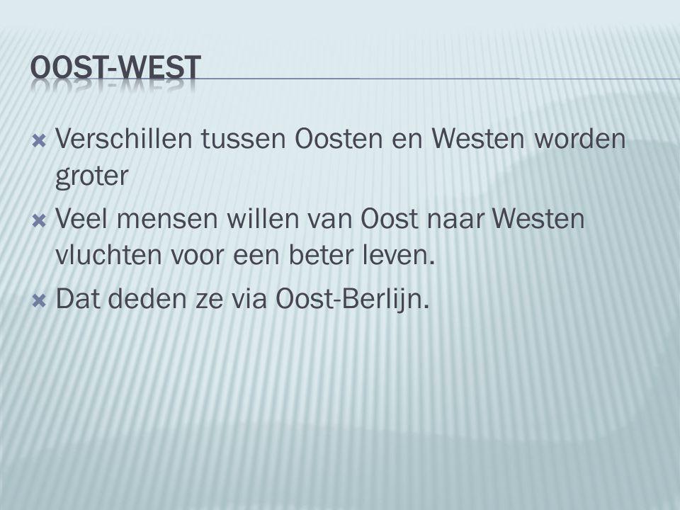  Verschillen tussen Oosten en Westen worden groter  Veel mensen willen van Oost naar Westen vluchten voor een beter leven.  Dat deden ze via Oost-B