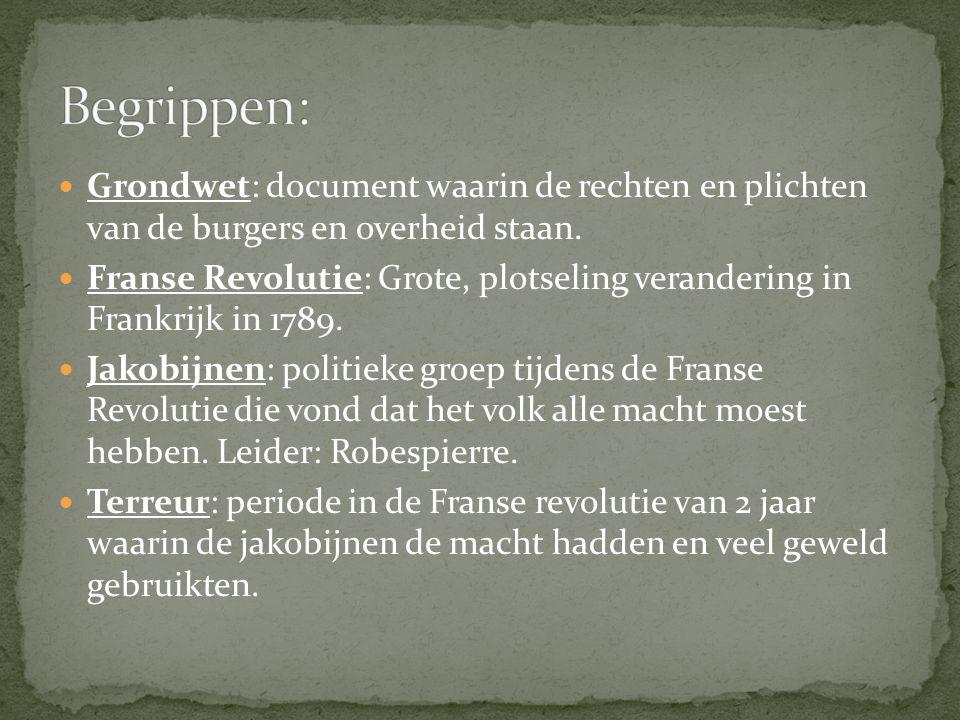 Grondwet: document waarin de rechten en plichten van de burgers en overheid staan. Franse Revolutie: Grote, plotseling verandering in Frankrijk in 178