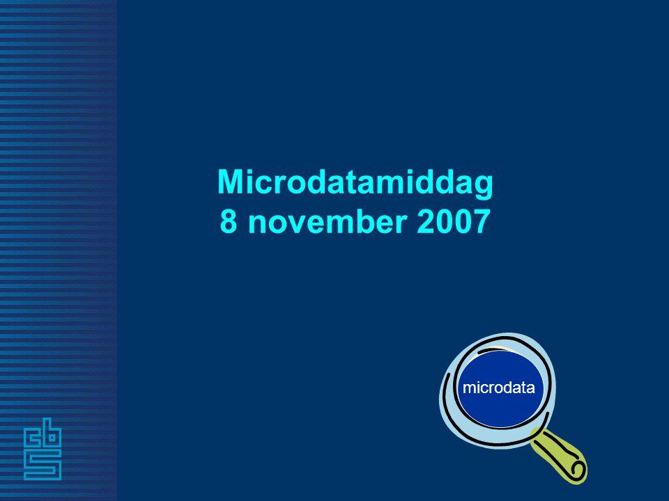 Microdatamiddag 8 november 2007 microdata