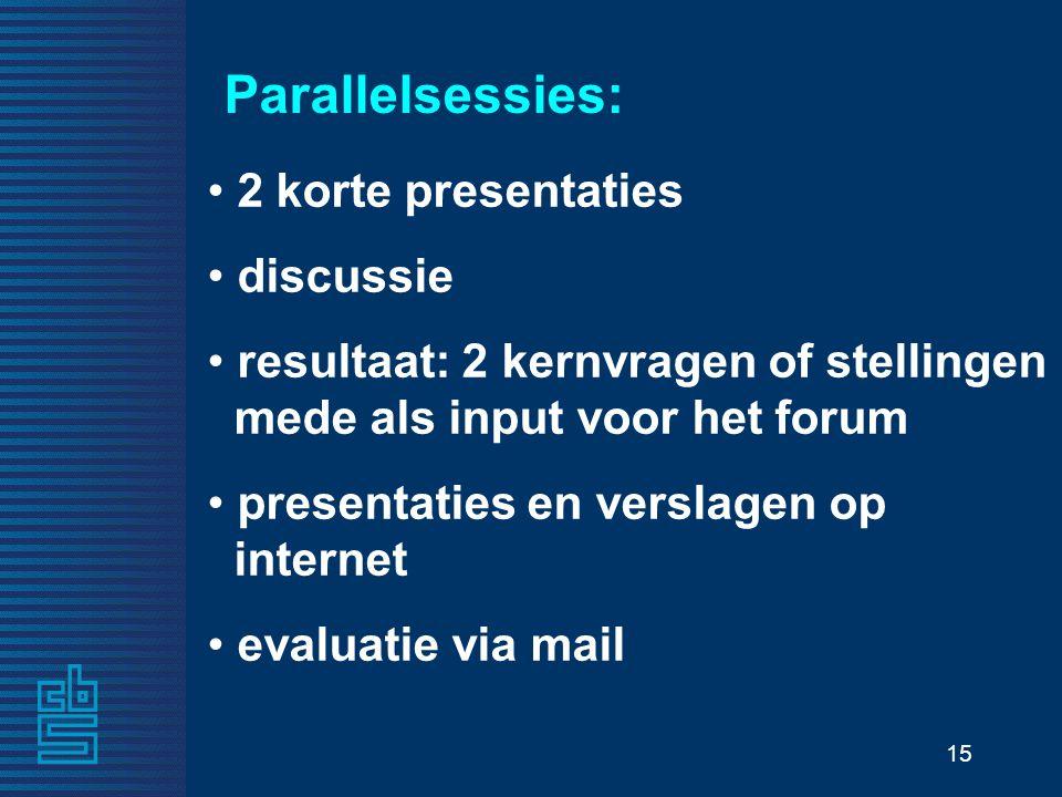 15 Parallelsessies: 2 korte presentaties discussie resultaat: 2 kernvragen of stellingen mede als input voor het forum presentaties en verslagen op in