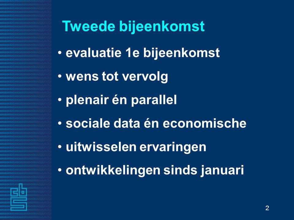 2 Tweede bijeenkomst evaluatie 1e bijeenkomst wens tot vervolg plenair én parallel sociale data én economische uitwisselen ervaringen ontwikkelingen s