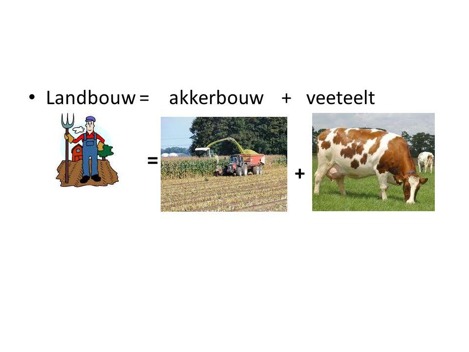 Landbouw = akkerbouw + veeteelt = +