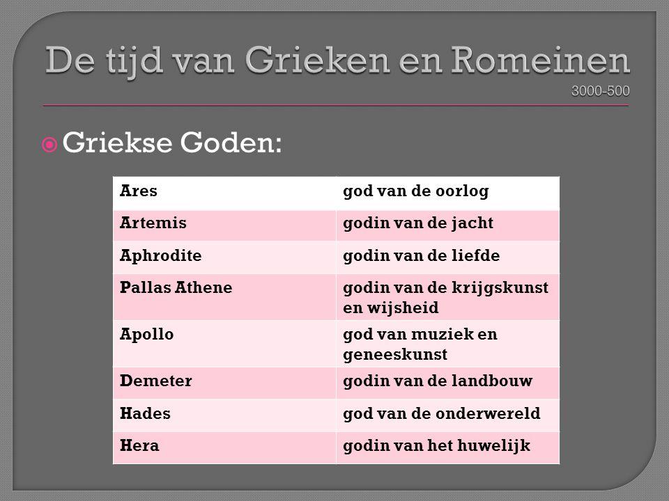 Griekse Goden: Aresgod van de oorlog Artemisgodin van de jacht Aphroditegodin van de liefde Pallas Athenegodin van de krijgskunst en wijsheid Apollo