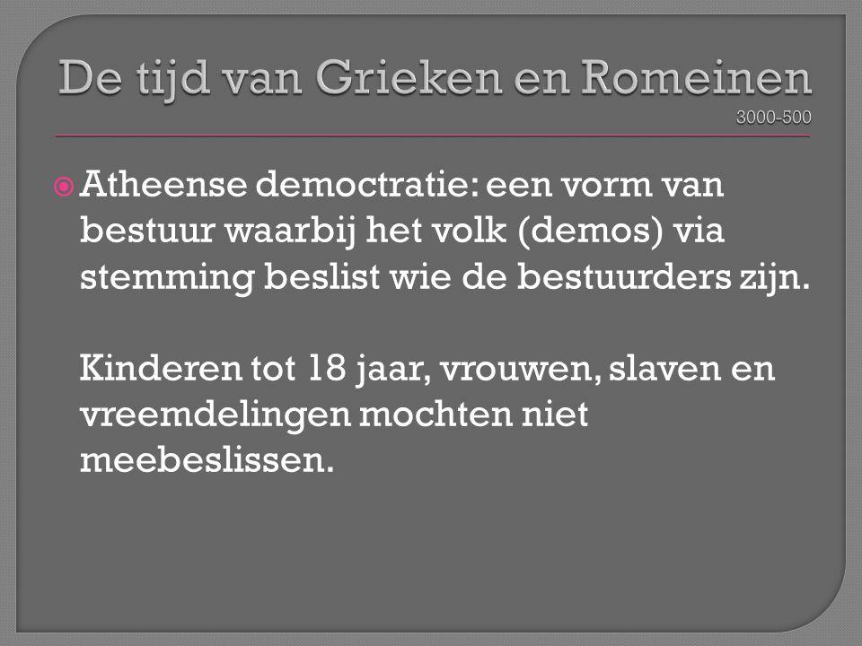  Atheense democtratie: een vorm van bestuur waarbij het volk (demos) via stemming beslist wie de bestuurders zijn. Kinderen tot 18 jaar, vrouwen, sla