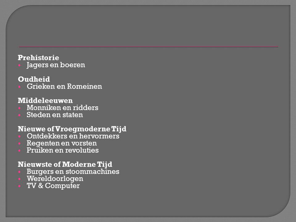 Prehistorie Jagers en boeren Oudheid Grieken en Romeinen Middeleeuwen Monniken en ridders Steden en staten Nieuwe of Vroegmoderne Tijd Ontdekkers en h