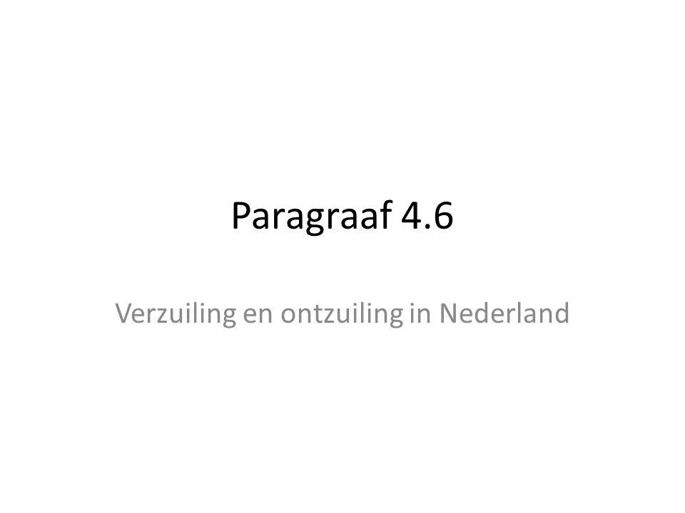 Paragraaf 4.6 Verzuiling en ontzuiling in Nederland