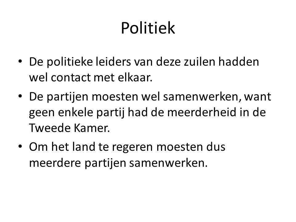 Politiek De politieke leiders van deze zuilen hadden wel contact met elkaar.
