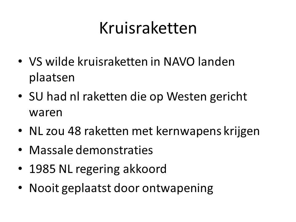 Kruisraketten VS wilde kruisraketten in NAVO landen plaatsen SU had nl raketten die op Westen gericht waren NL zou 48 raketten met kernwapens krijgen