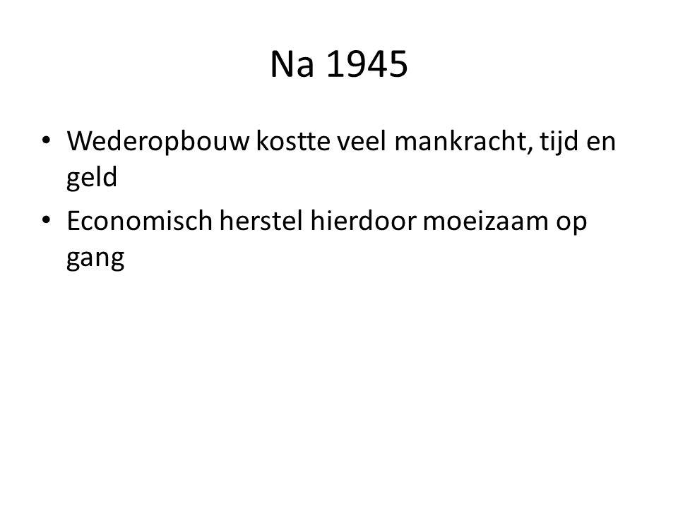 Na 1945 Wederopbouw kostte veel mankracht, tijd en geld Economisch herstel hierdoor moeizaam op gang