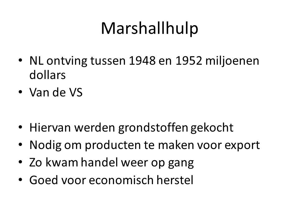 Marshallhulp NL ontving tussen 1948 en 1952 miljoenen dollars Van de VS Hiervan werden grondstoffen gekocht Nodig om producten te maken voor export Zo