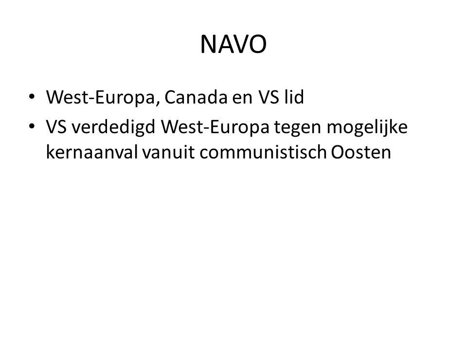 NAVO West-Europa, Canada en VS lid VS verdedigd West-Europa tegen mogelijke kernaanval vanuit communistisch Oosten
