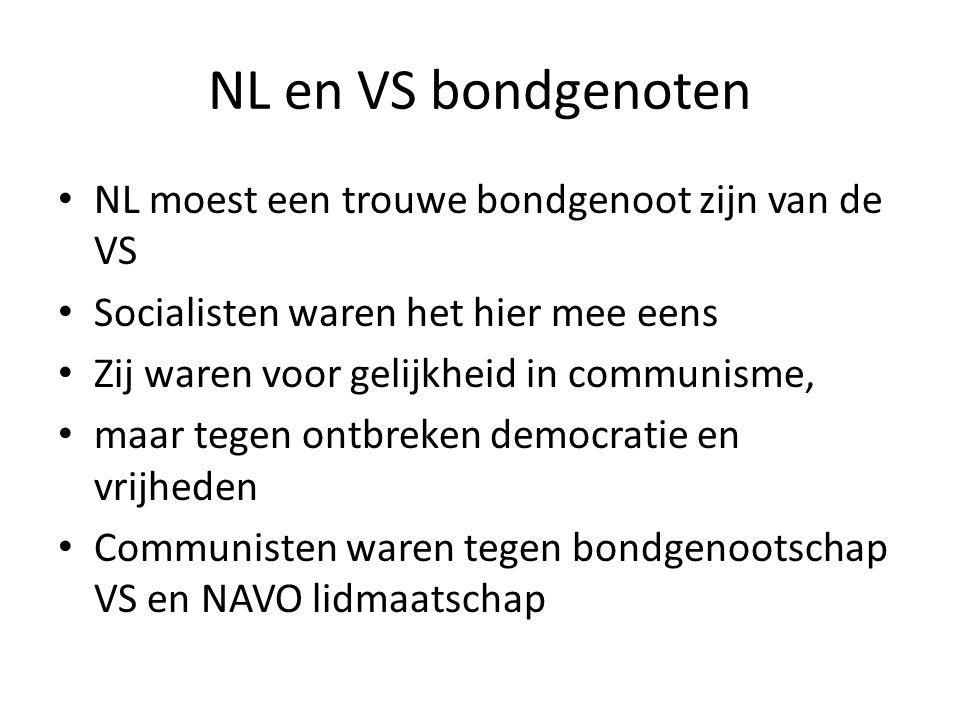 NL en VS bondgenoten NL moest een trouwe bondgenoot zijn van de VS Socialisten waren het hier mee eens Zij waren voor gelijkheid in communisme, maar t