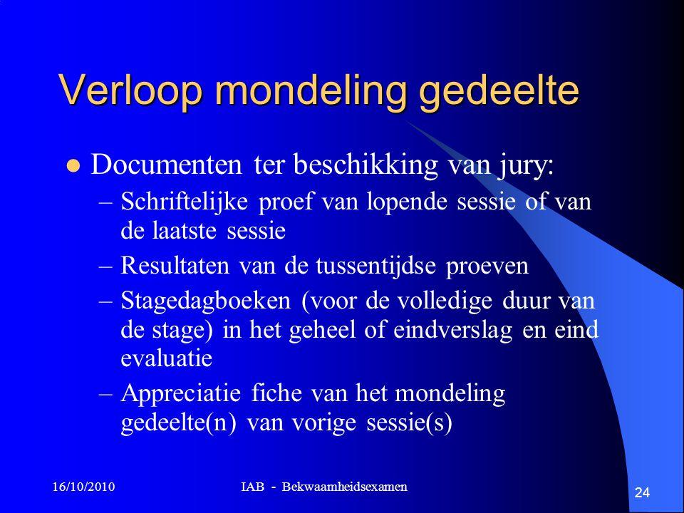 16/10/2010 IAB - Bekwaamheidsexamen 24 Verloop mondeling gedeelte Documenten ter beschikking van jury: –Schriftelijke proef van lopende sessie of van
