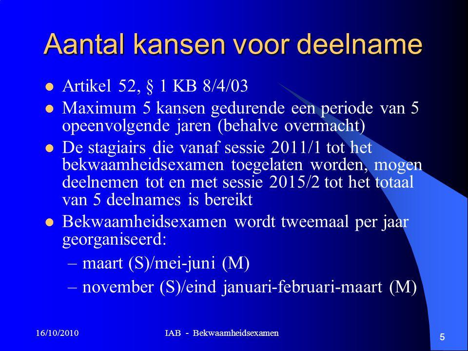 16/10/2010 IAB - Bekwaamheidsexamen 5 Aantal kansen voor deelname Artikel 52, § 1 KB 8/4/03 Maximum 5 kansen gedurende een periode van 5 opeenvolgende