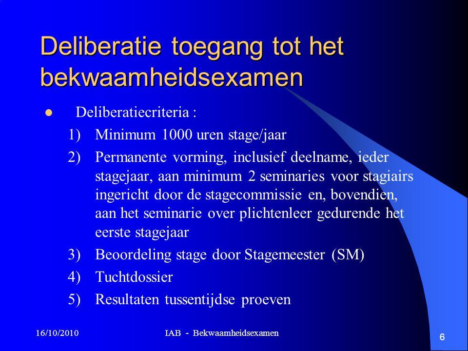 16/10/2010 IAB - Bekwaamheidsexamen 6 Deliberatie toegang tot het bekwaamheidsexamen Deliberatiecriteria : 1)Minimum 1000 uren stage/jaar 2)Permanente