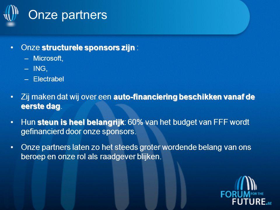 Onze partners structurele sponsors zijnOnze structurele sponsors zijn : –Microsoft, –ING, –Electrabel auto-financiering beschikken vanaf de eerste dagZij maken dat wij over een auto-financiering beschikken vanaf de eerste dag.