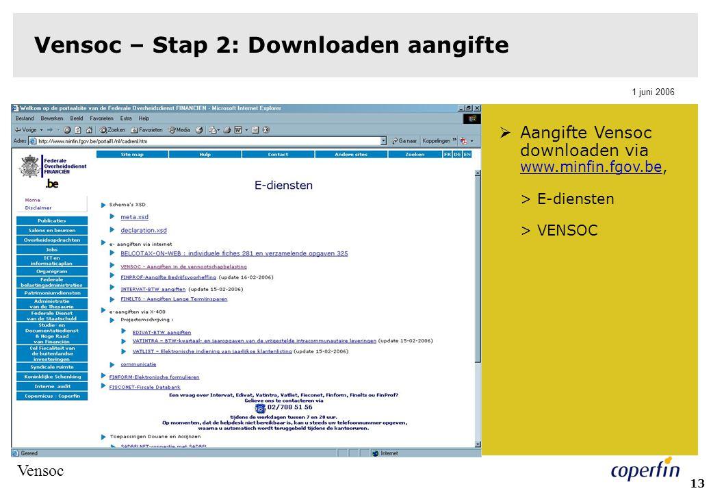 Vensoc 1 juni 2006 13 Vensoc – Stap 2: Downloaden aangifte  Aangifte Vensoc downloaden via www.minfin.fgov.be, > E-diensten > VENSOC www.minfin.fgov.be