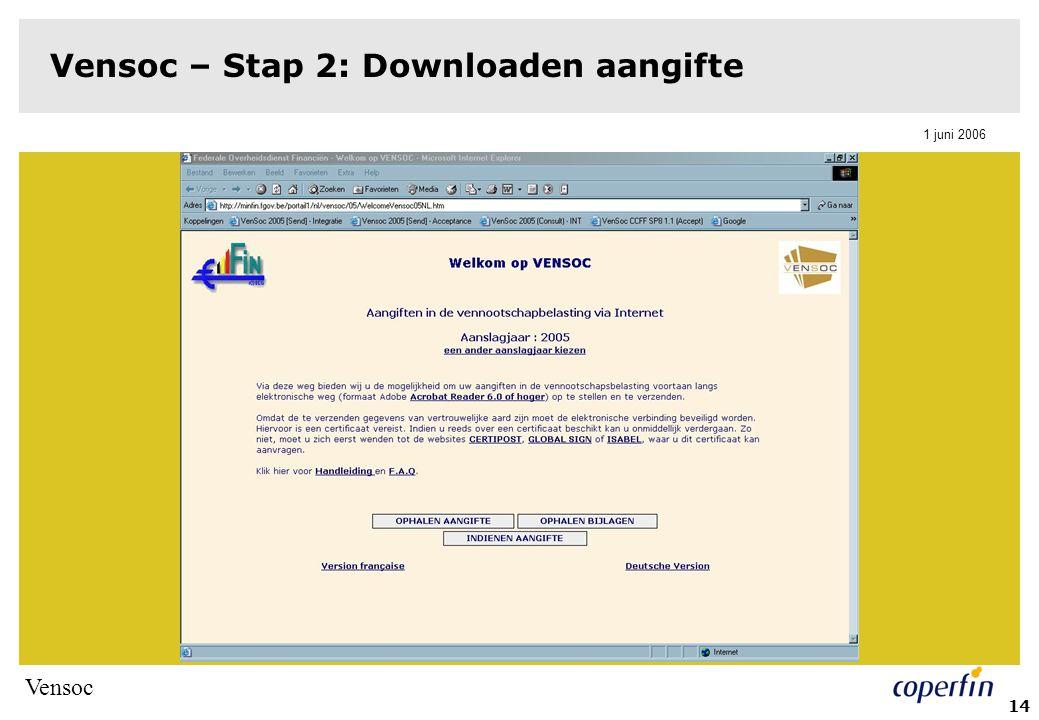 Vensoc 1 juni 2006 14 Vensoc – Stap 2: Downloaden aangifte
