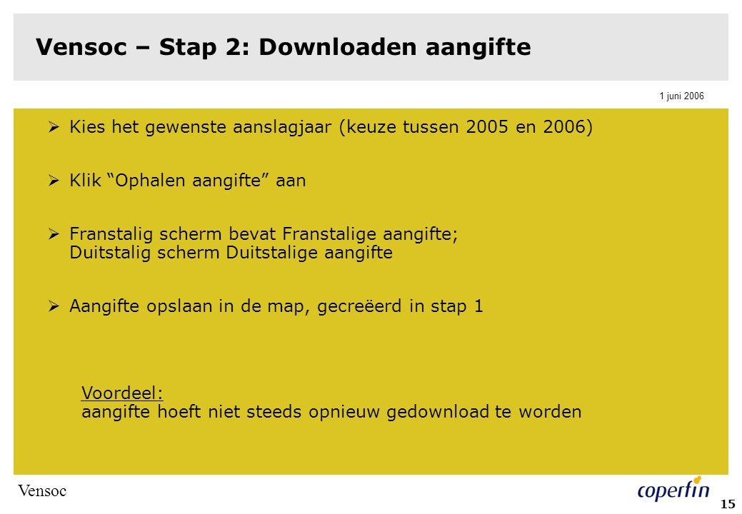 Vensoc 1 juni 2006 15 Vensoc – Stap 2: Downloaden aangifte  Kies het gewenste aanslagjaar (keuze tussen 2005 en 2006)  Klik Ophalen aangifte aan  Franstalig scherm bevat Franstalige aangifte; Duitstalig scherm Duitstalige aangifte  Aangifte opslaan in de map, gecreëerd in stap 1 Voordeel: aangifte hoeft niet steeds opnieuw gedownload te worden