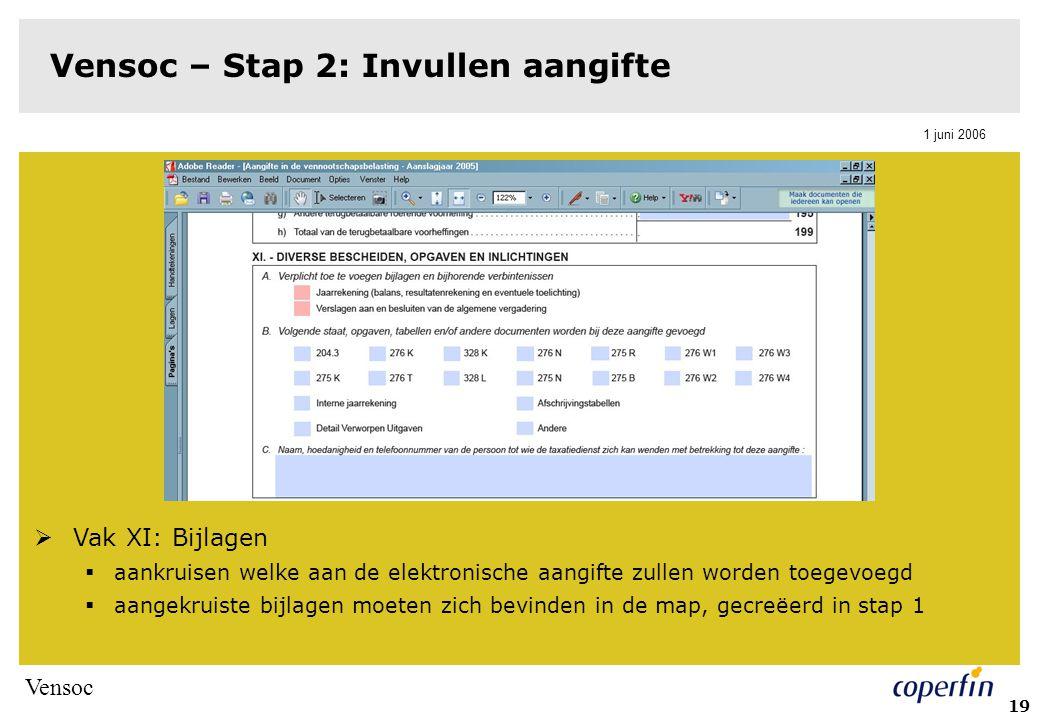 Vensoc 1 juni 2006 20 Vensoc – Stap 2: Invullen aangifte  Eenmaal volledig ingevuld: aanklikken groene validatieknop op einde van document  eventuele fouten verbeteren  Ingevulde aangifte opslaan in de map, gecreëerd in stap 1
