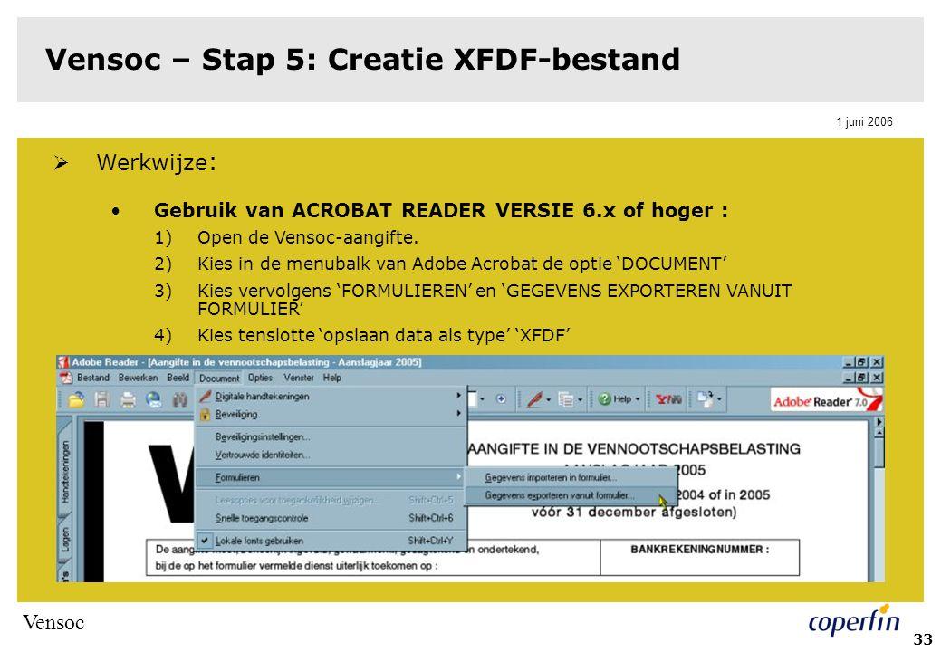 Vensoc 1 juni 2006 34 Vensoc – Stap 5: Creatie XFDF-bestand Gebruik van ACROBAT PROFESSIONAL VERSIE 6.x of hoger : 1)Open de Vensoc-aangifte 2)Kies in de menubalk van Adobe Acrobat de optie 'ADVANCED' 3)Kies vervolgens 'FORMS' en 'EXPORT DATA FROM FORM' 4)Kies tenslotte 'opslaan data als type 'XFDF'