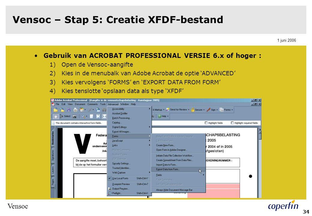 Vensoc 1 juni 2006 35 Vensoc – Stap 5: Creatie XFDF-bestand NIEUW vanaf aanslagjaar 2006: 1)Klik in het PDF-aangifteformulier op de extractie-knop (bevindt zich op het einde van het document) 2)Xfdf-bestand wordt automatisch aangemaakt