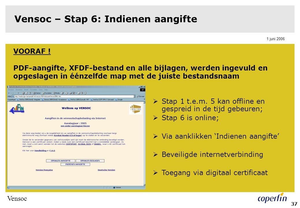 Vensoc 1 juni 2006 38 Vensoc – Stap 6: Indienen aangifte  Te volgen werkwijze: 1.Invullen tabblad 'aangifte'  pad van het xfdf-bestand invullen