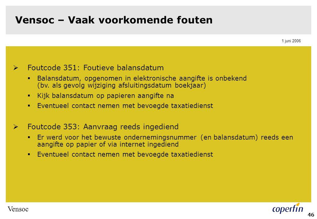 Vensoc 1 juni 2006 46 Vensoc – Vaak voorkomende fouten  Foutcode 351: Foutieve balansdatum  Balansdatum, opgenomen in elektronische aangifte is onbekend (bv.
