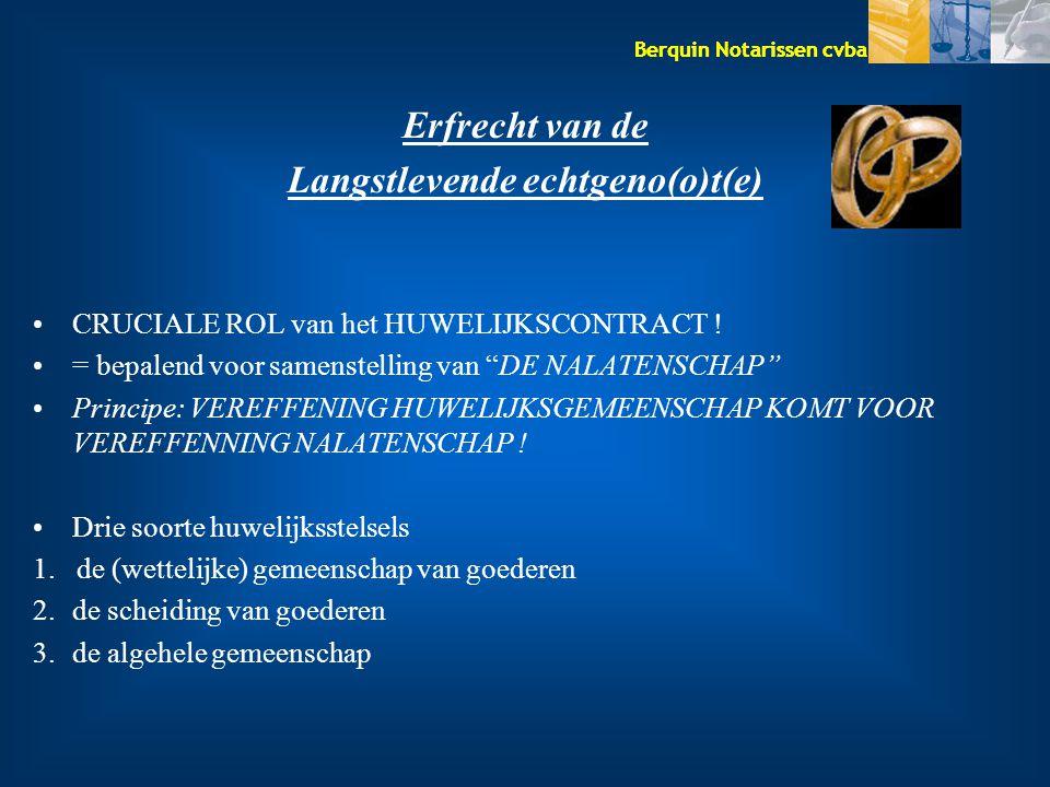 """Berquin Notarissen cvba Erfrecht van de Langstlevende echtgeno(o)t(e) CRUCIALE ROL van het HUWELIJKSCONTRACT ! = bepalend voor samenstelling van """"DE N"""