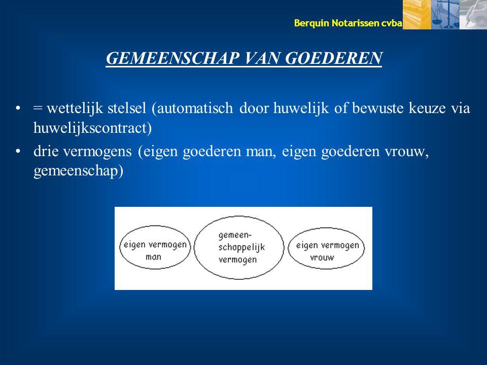 Berquin Notarissen cvba GEMEENSCHAP VAN GOEDEREN = wettelijk stelsel (automatisch door huwelijk of bewuste keuze via huwelijkscontract) drie vermogens