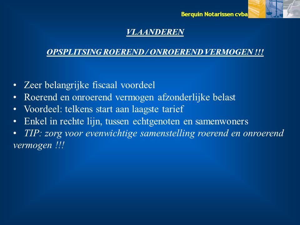 Berquin Notarissen cvba VLAANDEREN OPSPLITSING ROEREND / ONROEREND VERMOGEN !!! Zeer belangrijke fiscaal voordeel Roerend en onroerend vermogen afzond