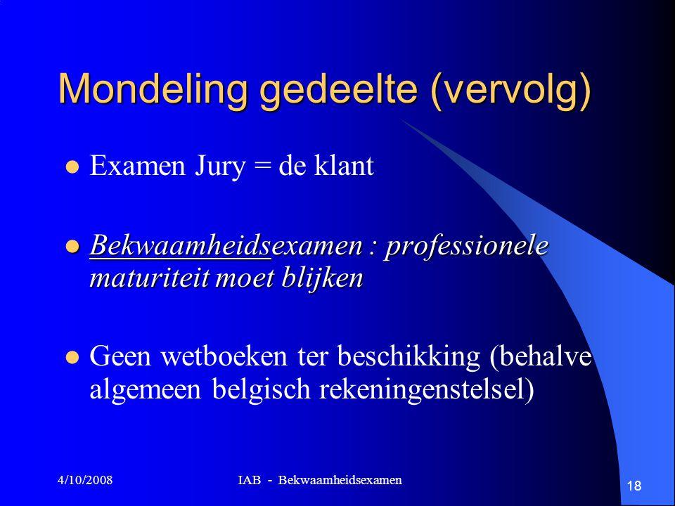 4/10/2008 IAB - Bekwaamheidsexamen 18 Mondeling gedeelte (vervolg) Examen Jury = de klant Bekwaamheidsexamen : professionele maturiteit moet blijken Bekwaamheidsexamen : professionele maturiteit moet blijken Geen wetboeken ter beschikking (behalve algemeen belgisch rekeningenstelsel)