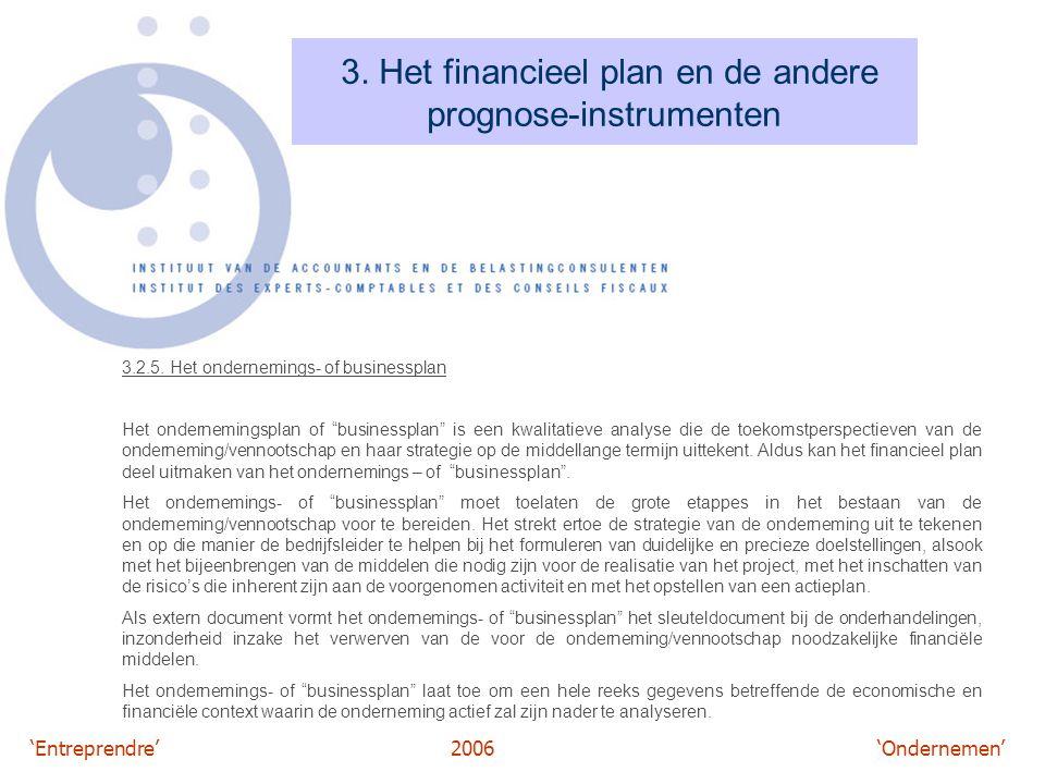 'Entreprendre'2006 'Ondernemen' 3. Het financieel plan en de andere prognose-instrumenten 3.2.5. Het ondernemings- of businessplan Het ondernemingspla