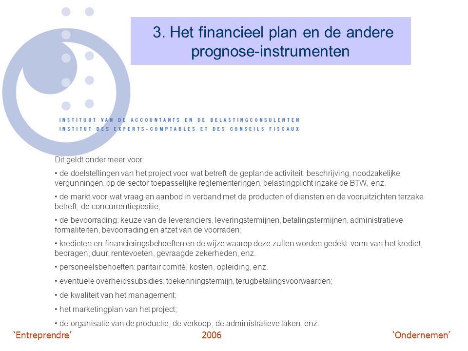 'Entreprendre'2006 'Ondernemen' 3. Het financieel plan en de andere prognose-instrumenten Dit geldt onder meer voor: de doelstellingen van het project