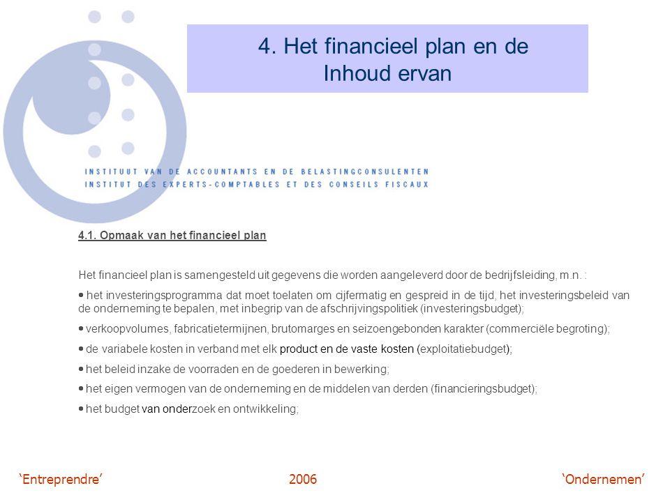 'Entreprendre'2006 'Ondernemen' 4. Het financieel plan en de Inhoud ervan 4.1. Opmaak van het financieel plan Het financieel plan is samengesteld uit