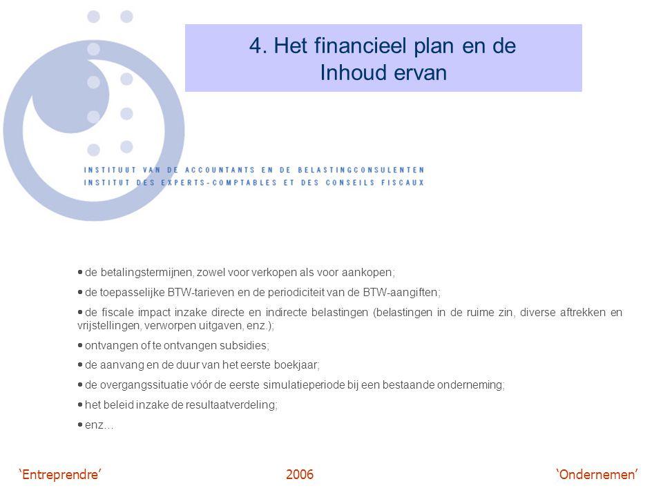 'Entreprendre'2006 'Ondernemen' 4. Het financieel plan en de Inhoud ervan  de betalingstermijnen, zowel voor verkopen als voor aankopen;  de toepass