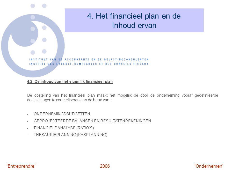 'Entreprendre'2006 'Ondernemen' 4. Het financieel plan en de Inhoud ervan 4.2. De inhoud van het eigenlijk financieel plan De opstelling van het finan