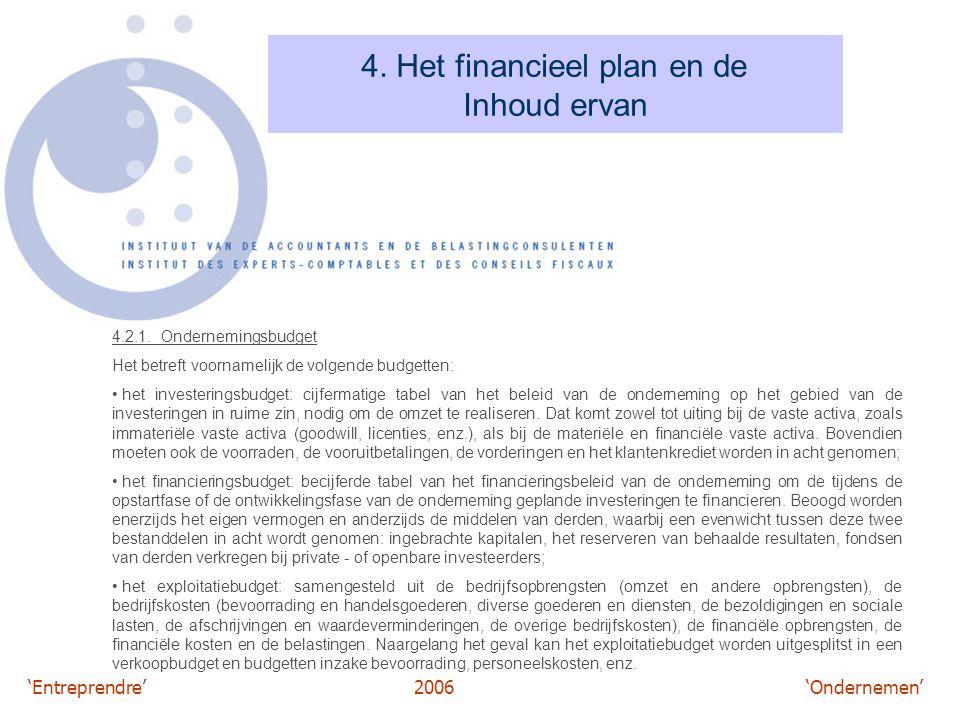 'Entreprendre'2006 'Ondernemen' 4. Het financieel plan en de Inhoud ervan 4.2.1. Ondernemingsbudget Het betreft voornamelijk de volgende budgetten: he