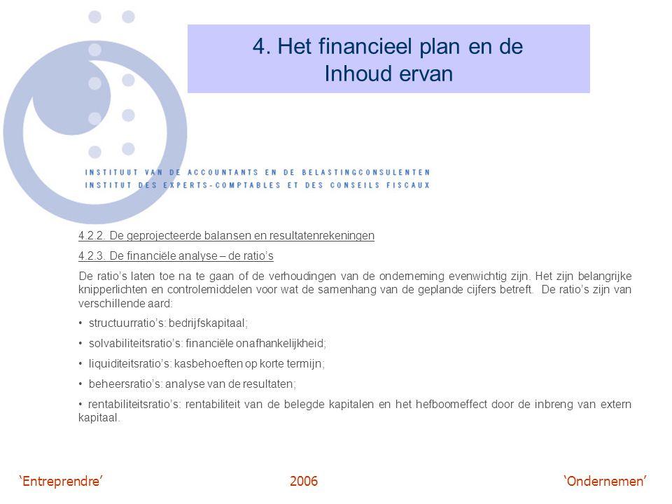 'Entreprendre'2006 'Ondernemen' 4. Het financieel plan en de Inhoud ervan 4.2.2. De geprojecteerde balansen en resultatenrekeningen 4.2.3. De financië