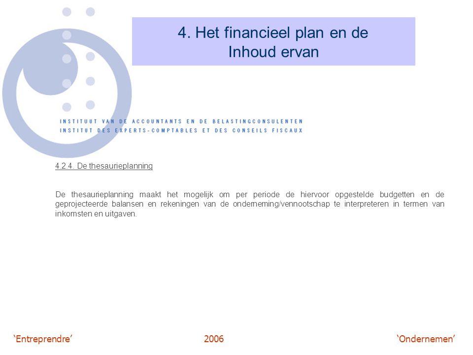 'Entreprendre'2006 'Ondernemen' 4. Het financieel plan en de Inhoud ervan 4.2.4. De thesaurieplanning De thesaurieplanning maakt het mogelijk om per p