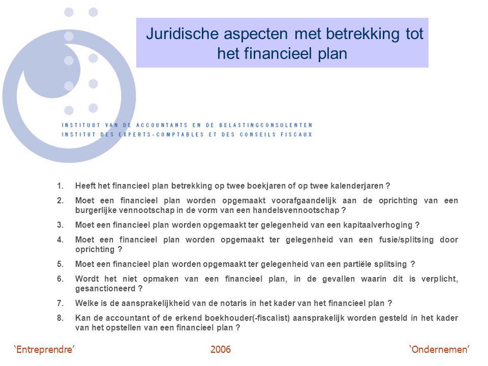 'Entreprendre'2006 'Ondernemen' Juridische aspecten met betrekking tot het financieel plan 1.Heeft het financieel plan betrekking op twee boekjaren of
