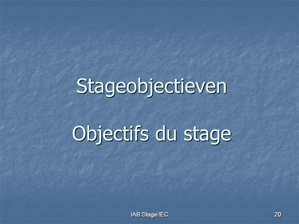 IAB Stage IEC20 Stageobjectieven Objectifs du stage