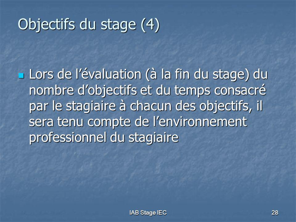 IAB Stage IEC28 Objectifs du stage (4) Lors de l'évaluation (à la fin du stage) du nombre d'objectifs et du temps consacré par le stagiaire à chacun des objectifs, il sera tenu compte de l'environnement professionnel du stagiaire Lors de l'évaluation (à la fin du stage) du nombre d'objectifs et du temps consacré par le stagiaire à chacun des objectifs, il sera tenu compte de l'environnement professionnel du stagiaire