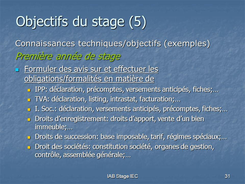 IAB Stage IEC31 Objectifs du stage (5) Connaissances techniques/objectifs (exemples) Première année de stage Formuler des avis sur et effectuer les obligations/formalités en matière de Formuler des avis sur et effectuer les obligations/formalités en matière de IPP: déclaration, précomptes, versements anticipés, fiches;… IPP: déclaration, précomptes, versements anticipés, fiches;… TVA: déclaration, listing, intrastat, facturation;… TVA: déclaration, listing, intrastat, facturation;… I.