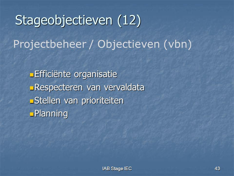 IAB Stage IEC43 Stageobjectieven (12) Efficiënte organisatie Efficiënte organisatie Respecteren van vervaldata Respecteren van vervaldata Stellen van prioriteiten Stellen van prioriteiten Planning Planning Projectbeheer / Objectieven (vbn)