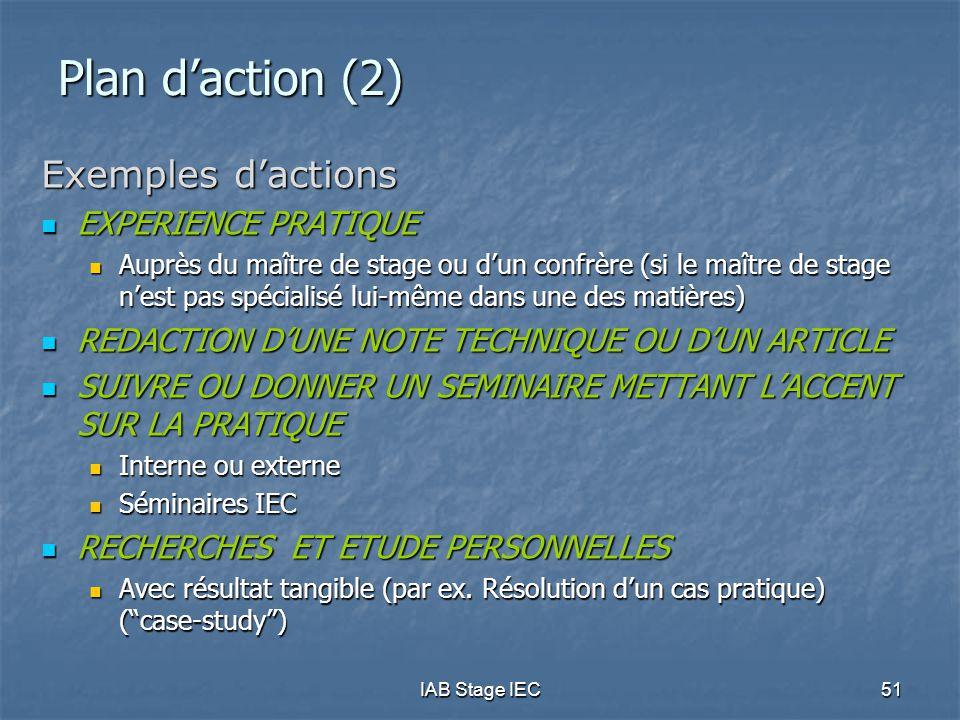IAB Stage IEC51 Plan d'action (2) Exemples d'actions EXPERIENCE PRATIQUE EXPERIENCE PRATIQUE Auprès du maître de stage ou d'un confrère (si le maître de stage n'est pas spécialisé lui-même dans une des matières) Auprès du maître de stage ou d'un confrère (si le maître de stage n'est pas spécialisé lui-même dans une des matières) REDACTION D'UNE NOTE TECHNIQUE OU D'UN ARTICLE REDACTION D'UNE NOTE TECHNIQUE OU D'UN ARTICLE SUIVRE OU DONNER UN SEMINAIRE METTANT L'ACCENT SUR LA PRATIQUE SUIVRE OU DONNER UN SEMINAIRE METTANT L'ACCENT SUR LA PRATIQUE Interne ou externe Interne ou externe Séminaires IEC Séminaires IEC RECHERCHES ET ETUDE PERSONNELLES RECHERCHES ET ETUDE PERSONNELLES Avec résultat tangible (par ex.