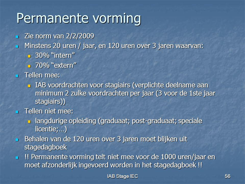 IAB Stage IEC56 Permanente vorming Zie norm van 2/2/2009 Zie norm van 2/2/2009 Minstens 20 uren / jaar, en 120 uren over 3 jaren waarvan: Minstens 20 uren / jaar, en 120 uren over 3 jaren waarvan: 30% intern 30% intern 70% extern 70% extern Tellen mee: Tellen mee: IAB voordrachten voor stagiairs (verplichte deelname aan minimum 2 zulke voordrachten per jaar (3 voor de 1ste jaar stagiairs)) IAB voordrachten voor stagiairs (verplichte deelname aan minimum 2 zulke voordrachten per jaar (3 voor de 1ste jaar stagiairs)) Tellen niet mee: Tellen niet mee: langdurige opleiding (graduaat; post-graduaat; speciale licentie;…) langdurige opleiding (graduaat; post-graduaat; speciale licentie;…) Behalen van de 120 uren over 3 jaren moet blijken uit stagedagboek Behalen van de 120 uren over 3 jaren moet blijken uit stagedagboek !.
